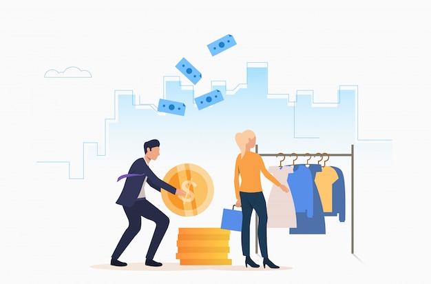 Mensen kopen kleding met contant geld Gratis Vector