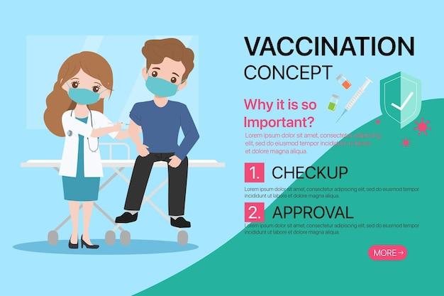 Mensen krijgen vaccins met een arts om te beschermen tegen virussen. Premium Vector