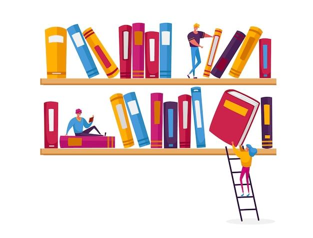 Mensen lezen en studeren, studenten bereiden zich voor op onderzoek, verwerven kennis. Premium Vector