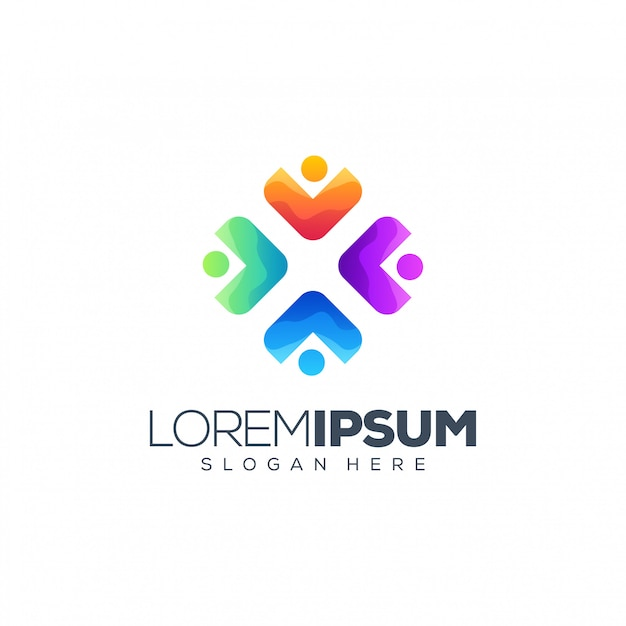 Mensen logo ontwerp Premium Vector