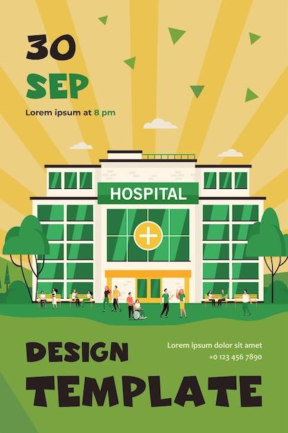 Mensen lopen en zitten in het ziekenhuisgebouw Gratis Vector