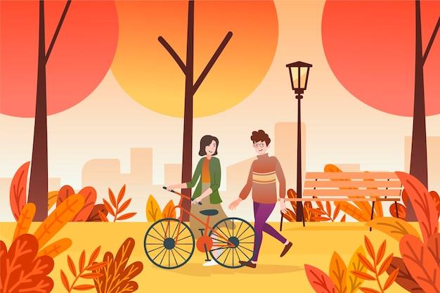 Mensen lopen in herfst ontwerp Gratis Vector