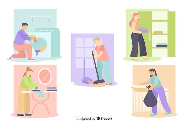 Mensen maken hun huis schoon in hun vrije tijd Gratis Vector