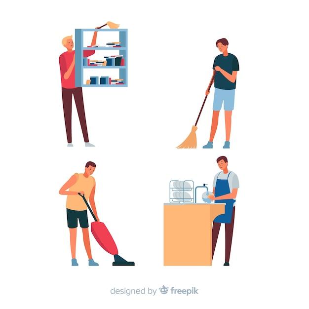 Mensen maken hun huis schoon Gratis Vector
