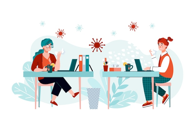 Mensen met coronavirus of griepvirus op kantoorwerkplek - zieke cartoonvrouwen met ziektesymptomen die bacteriën verspreiden tijdens het werken. . Premium Vector