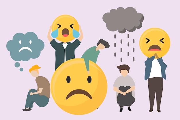 Mensen met droevige en boze emojiisillustratie Gratis Vector