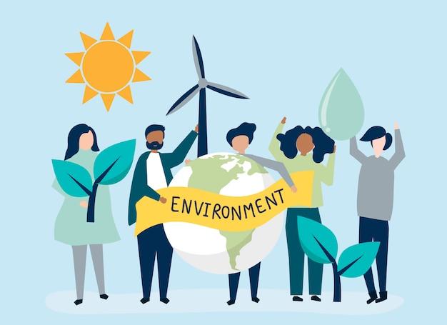 Mensen met ecologische duurzaamheid concept Gratis Vector
