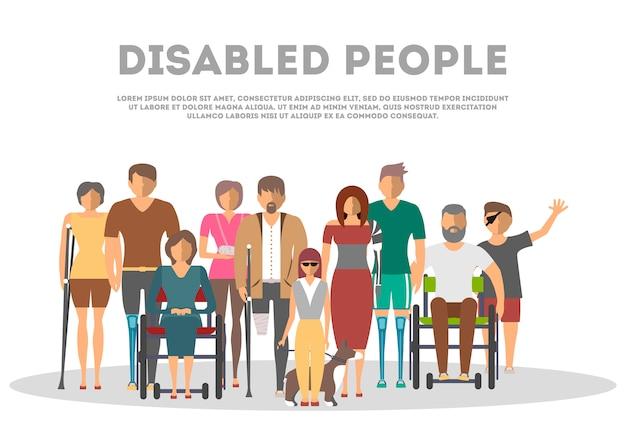 Mensen met een handicap banner in vlakke stijl Premium Vector