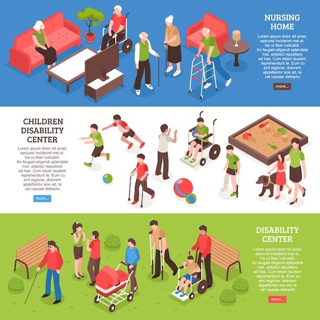 Mensen met een handicap isometrische banner set Gratis Vector
