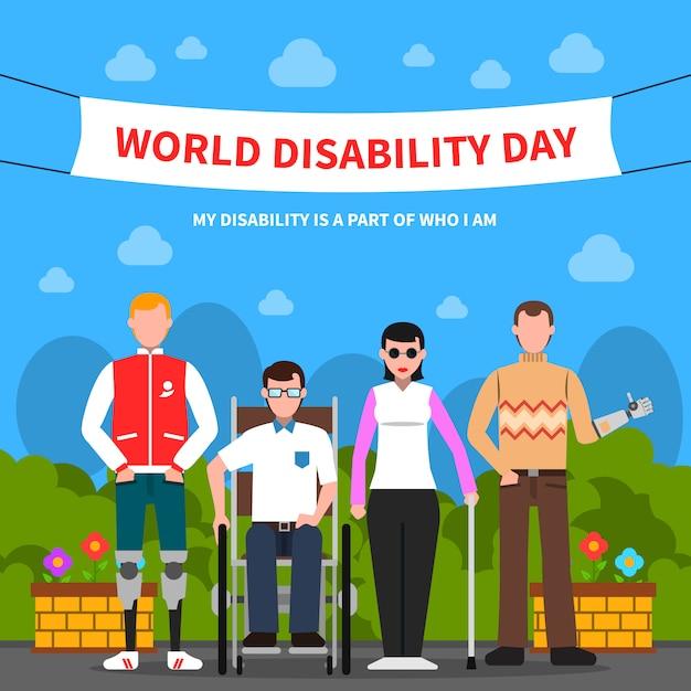 Mensen met een handicap ondersteunen een vlakke poster Gratis Vector