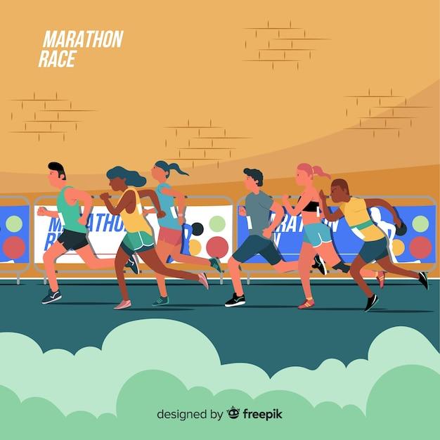 Mensen met een marathonrace Gratis Vector