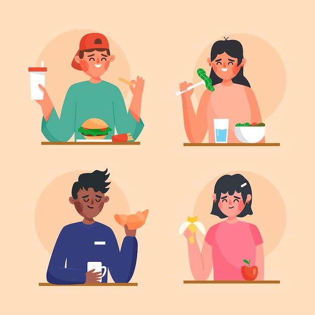 Mensen met eten Gratis Vector