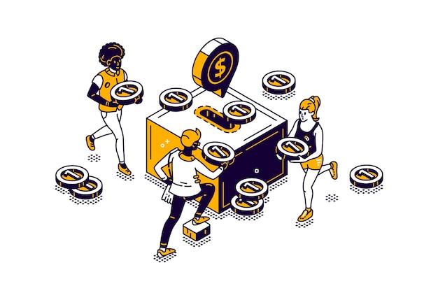 Mensen met geld en spaarpot pictogram met gouden munten isometrische illustratie Gratis Vector