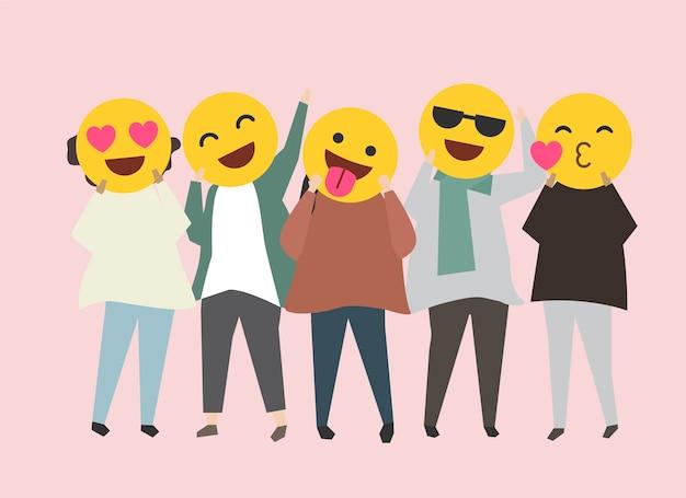 Mensen met grappige en gelukkige emojiisillustratie Gratis Vector