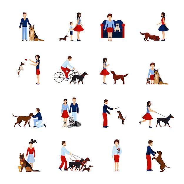 Mensen met honden instellen Gratis Vector