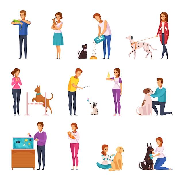 Mensen met huisdieren cartoon set Gratis Vector