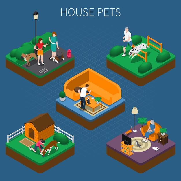 Mensen met huisdieren samenstelling set Gratis Vector