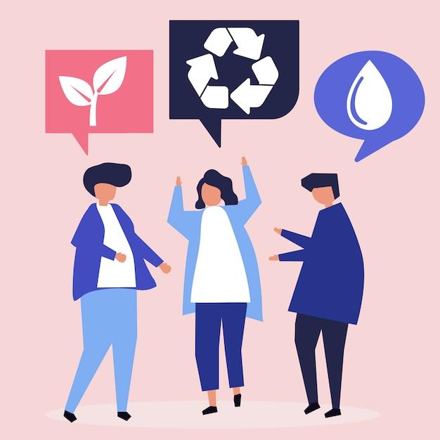 Mensen met ideeën voor milieubehoud Gratis Vector