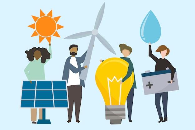 Mensen met illustratie van hernieuwbare energiebronnen Gratis Vector