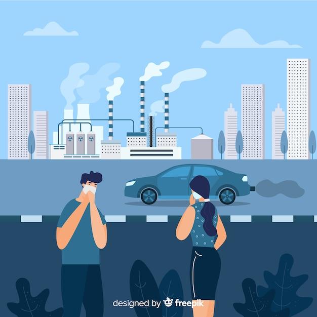 Mensen met masker in een industriële stad Gratis Vector