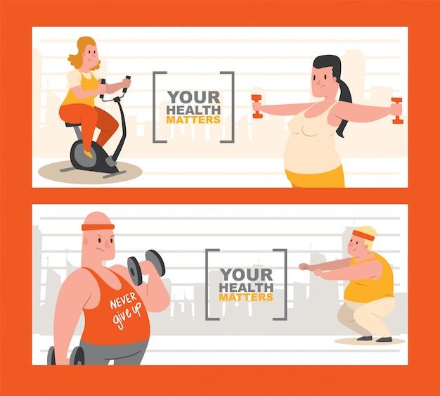 Mensen met overgewicht doen oefeningenset ofs. je gezondheid is belangrijk. Premium Vector