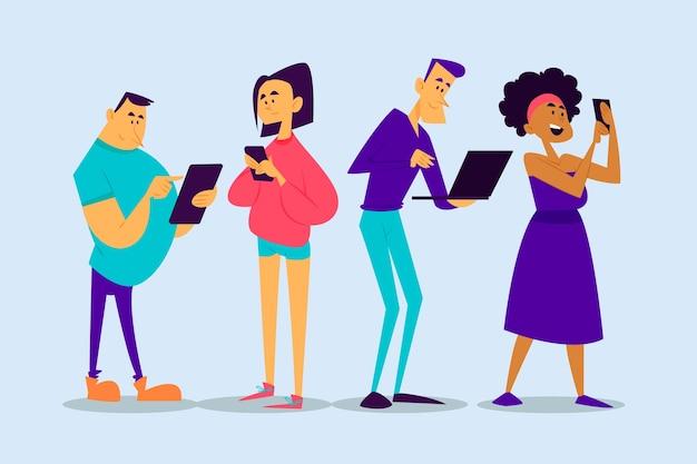 Mensen met smartphones en laptop Gratis Vector