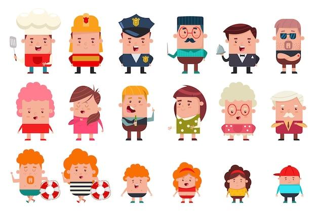 Mensen met verschillende beroepen en leeftijden Premium Vector