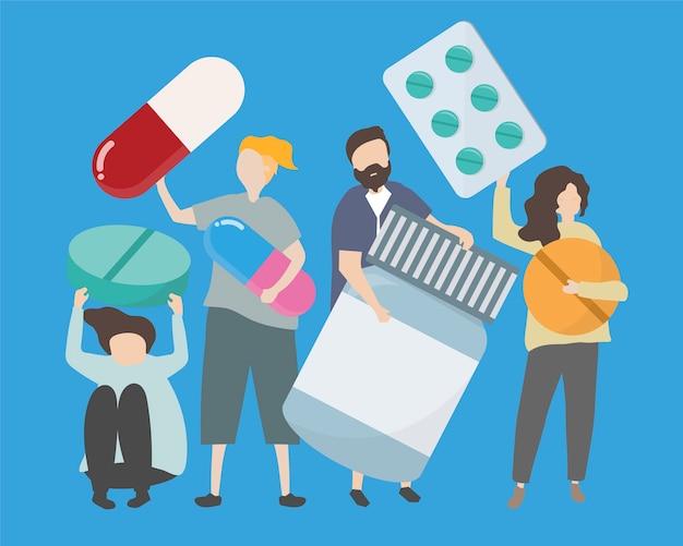 Mensen met verschillende drugs en pillenillustratie Gratis Vector