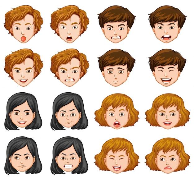 Mensen met verschillende gezichtsuitdrukkingen Gratis Vector