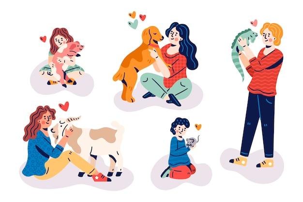 Mensen met verschillende huisdieren ontwerpen Gratis Vector