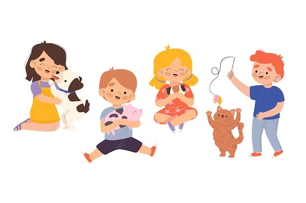 Mensen met verschillende huisdierenillustratie Gratis Vector