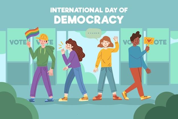 Mensen met verschillende persoonlijkheden dag van democratie Gratis Vector