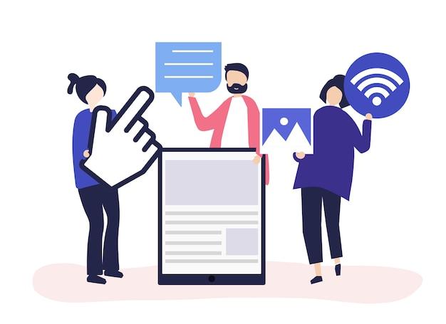 Mensen met verschillende pictogrammen met betrekking tot online media Gratis Vector