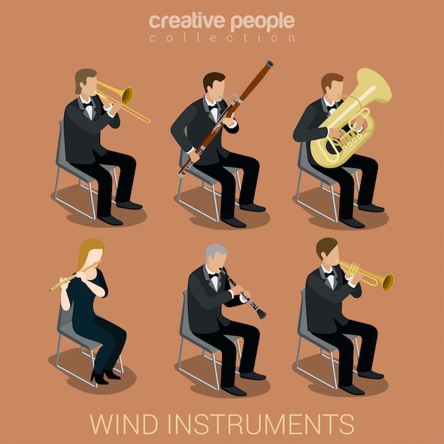 Mensen muzikanten spelen op wind muzikale instrumenten isometrische vector illustraties set. Gratis Vector