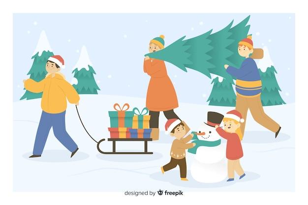 Mensen nemen kerstboom en geschenken cartoon Gratis Vector