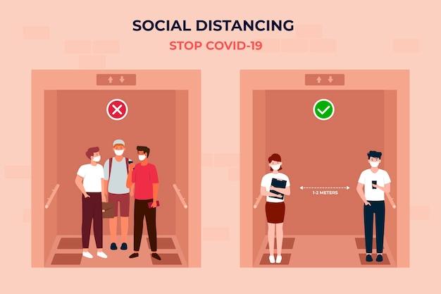 Mensen oefenen sociaal afstand nemen in een lift Premium Vector