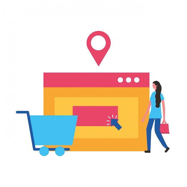 Mensen online winkelen Premium Vector