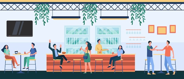 Mensen ontmoeten elkaar in café, bier drinken in de pub, aan tafel of balie zitten en praten. vectorillustratie voor het nachtleven, feest, bar concept Gratis Vector