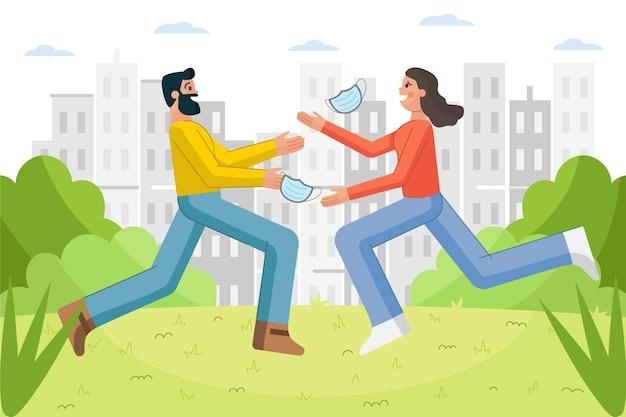 Mensen ontmoeten elkaar na zelfisolatie Gratis Vector