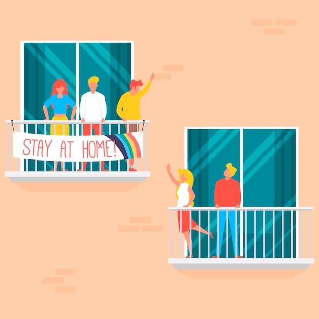 Mensen op balkons concept Gratis Vector