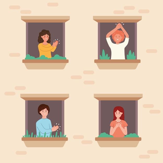 Mensen op balkons klappen en gelukkig zijn Gratis Vector
