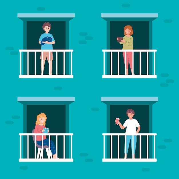 Mensen op balkons met huisdieren en objecten Gratis Vector