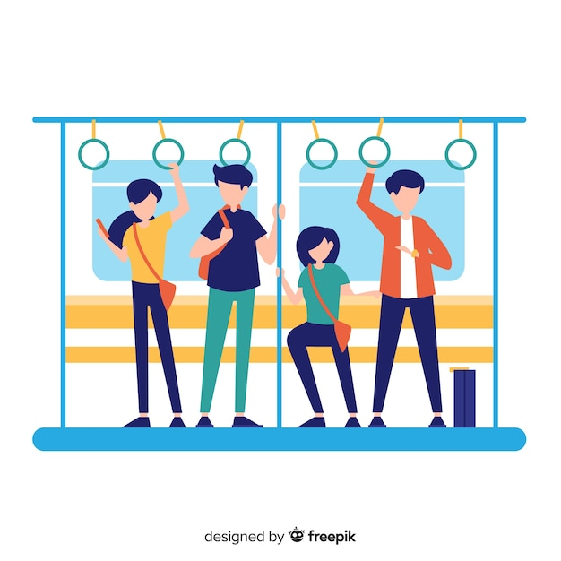 Mensen op de metrot achtergrond Gratis Vector