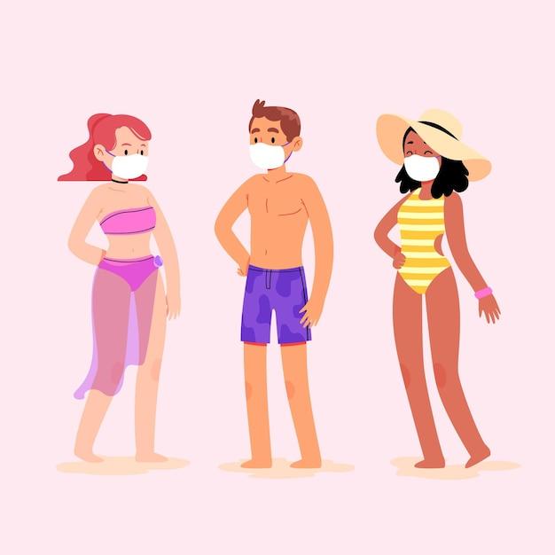 Mensen op het strand dragen gezichtsmaskers Gratis Vector