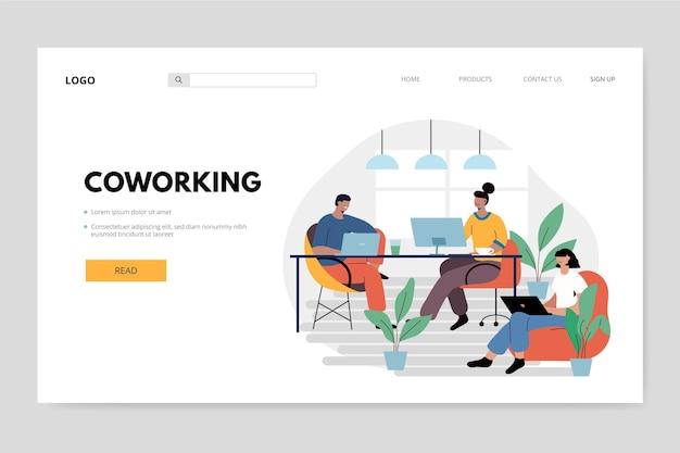 Mensen op hun werkplek coworking-bestemmingspagina Gratis Vector