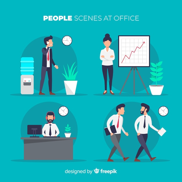 Mensen op kantoor scènes ingesteld Gratis Vector
