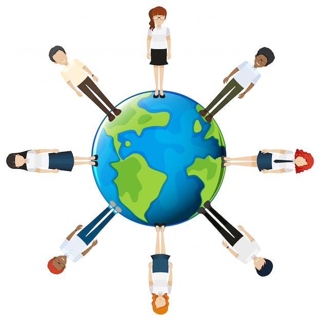 Mensen over de hele wereld Gratis Vector
