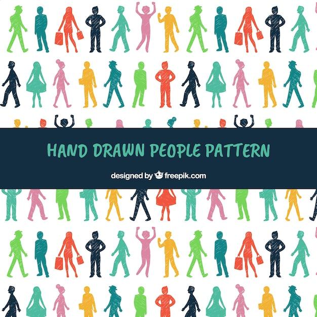 Mensen patroon in de hand getrokken stijl Gratis Vector