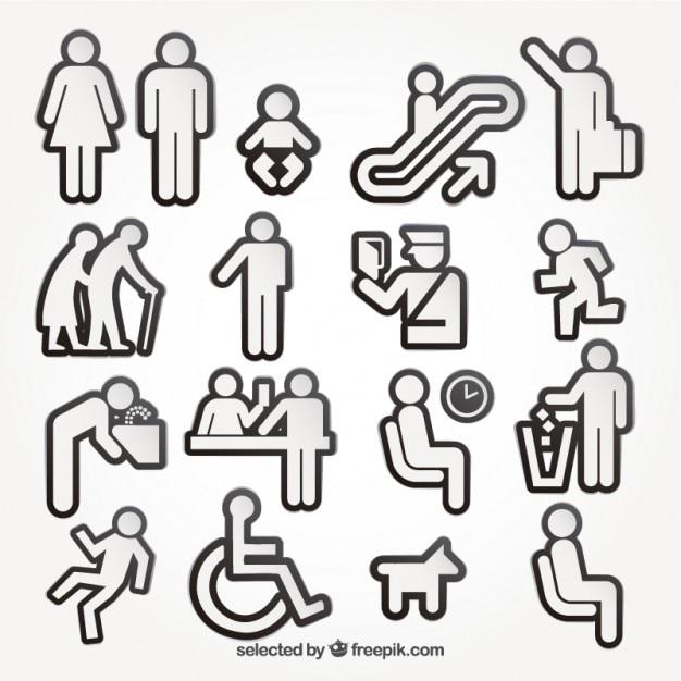 Mensen pictogrammen collectie Gratis Vector