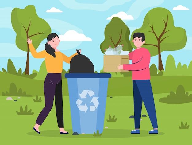 Mensen plaatsen herbruikbaar afval in een afvalcontainer Gratis Vector